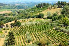 Tuscany countryside, San Gimignano, Italy. Beautiful landscape of Tuscany summer countryside from Pienza town walls. Typical for the Italy region Toscana hills stock photos