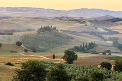 Tuscany sunrise countryside, Italy Stock Image