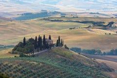 Tuscany sunrise countryside, Italy Stock Photo