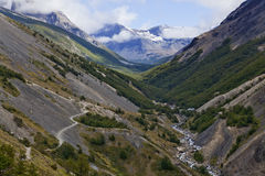 Beautiful landscape of a valley at Torres del Paine Royalty Free Stock Image