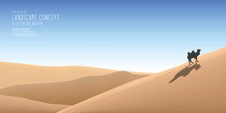The beautiful landscape in the vast desert and a camel traveling. Illustration vector the beautiful landscape in the vast desert and a camel traveling alone Stock Photo