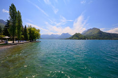 Beautiful landscape view of the crystal clear Annecy lake Royalty Free Stock Image