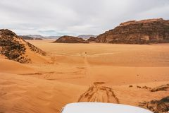 A beautiful landscape view of desert from of a car. Travel concept royalty free stock images