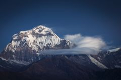 Beautiful landscape view with Dhaulagiri peak from Poon Hill. Himalaya Mountain, Nepal.  stock image