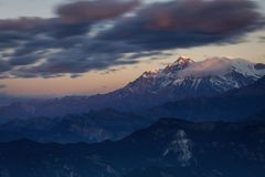 Beautiful landscape view with Dhaulagiri peak from Poon Hill. Himalaya Mountain, Nepal.  stock photo