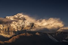 Beautiful landscape view with Dhaulagiri peak from Poon Hill. Himalaya Mountain, Nepal.  royalty free stock photo