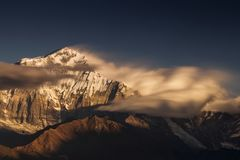 Beautiful landscape view with Dhaulagiri peak from Poon Hill. Himalaya Mountain, Nepal.  royalty free stock images