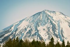 Beautiful landscape view of Fuji mountain or Mt.Fuji covered with white snow in winter seasonal at Yamanashi. Beautiful landscape view of Fuji mountain or Mt Stock Photography