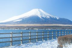 Beautiful landscape view of Fuji mountain or Mt.Fuji covered with white snow in winter seasonal at Yamanakako Lake. stock photography