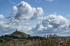 Beautiful landscape view of Glastonbury Tor on Summer day. Landscape view of Glastonbury Tor on Summer day royalty free stock photos