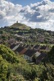 Beautiful landscape view of Glastonbury Tor on Summer day. Landscape view of Glastonbury Tor on Summer day stock photo