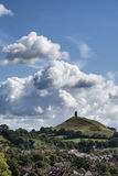 Beautiful landscape view of Glastonbury Tor on Summer day. Landscape view of Glastonbury Tor on Summer day stock photography