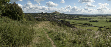 Beautiful landscape view of Glastonbury Tor on Summer day. Landscape view of Glastonbury Tor on Summer day royalty free stock photo