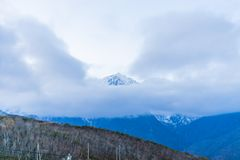 Beautiful landscape view of Hakuba in the winter with snow on the mountain and blue sky background in Nagano Prefecture Japan. Beautiful landscape view of royalty free stock photos