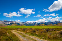 Beautiful landscape view of mountains and meadow, New Zealand Royalty Free Stock Image