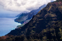 Beautiful landscape view of Na Pali coastline in dramatic style, Royalty Free Stock Photos