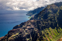 Beautiful landscape view of Na Pali coastline in dramatic style, Royalty Free Stock Photo