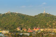 Beautiful landscape view of pagoda on top of the hill at Phra Na stock photography
