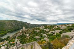 Beautiful landscape view of Pocitelj old town, Bosnia and Herzegovina Stock Image