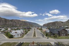 View over El Chalten, Patagonia, Argentina. Beautiful landscape view of quiet and nice town of El Chalten in Patagonia, Argentina Royalty Free Stock Images