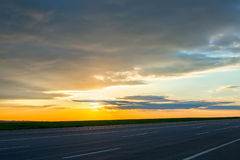 Beautiful landscape view of the road at dusk. Royalty Free Stock Photography