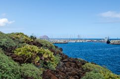 Beautiful landscape with view of the rocky coastline, atlantic ocean and marina San Miguel.Tenerife South, Canary Islands, Spain. royalty free stock image