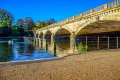 Landscape view of Serpentine Lake and Serpentine Bridge in Hyde Park, London, UK stock images