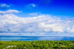 Beautiful landscape view of some buildings of San Andres Island Colombia and Caribbean Sea South America.  Stock Image