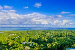 Beautiful landscape view of some buildings of San Andres Island Colombia and Caribbean Sea South America.  Royalty Free Stock Image