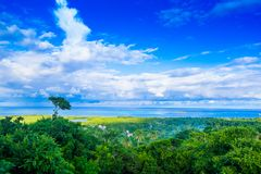Beautiful landscape view of some buildings of San Andres Island Colombia and Caribbean Sea South America.  Stock Photos