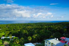 Beautiful landscape view of some buildings of San Andres Island Colombia and Caribbean Sea South America.  Stock Photography