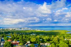 Beautiful landscape view of the town of San Andres Island Colombia and Caribbean Sea South America Royalty Free Stock Image