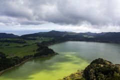 Beautiful landscape with volcanic lake and forest surrounding. São Miguel, Azores Royalty Free Stock Photo