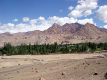 Beautiful landscape on the way to Leh. Majestic landscape view of hills and clouds Royalty Free Stock Photography