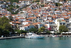 Beautiful landscape of white Mediterranean houses at Skopelos Is. Pretty landscape of scenic white Mediterranean houses at Skopelos Island in Greece, seen from Stock Photography