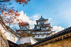 White outer wall and Japanese castle and branch of maple tree Stock Photography