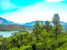 Beautiful landscape with wild forest and Periyar River, Kerala, India. THEKKADI, KERALA, INDIA - DEC. 15 2011: Beautiful landscape with colorful wild forest and Stock Photo