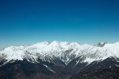 Beautiful landscape of winter Caucasian mountains. Incredibly beautiful landscape of the Caucasus Mountains. Processing a photo adds new emotions when viewed royalty free stock photography