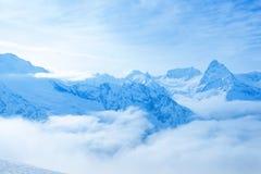 Beautiful landscape winter snow covered peaks of Caucasus mounta Royalty Free Stock Image