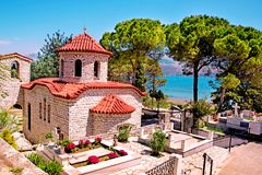Beautiful Landscape With An Ancient Church At The Cemetery Near The Sea In Argostoli, Kefalonia, Greece. Stunning Amazing Stock Photos