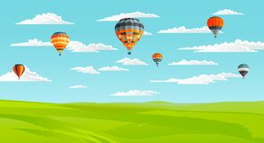 Free Beautiful Landscape With Green Lawn And Skyline With Clouds, Flying Air Balloons, Summer Time Stock Images - 191913874