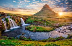 Free Beautiful Landscape With Sunrise On Kirkjufellsfoss Waterfall And Kirkjufell Mountain, Iceland. Stock Photos - 153151783