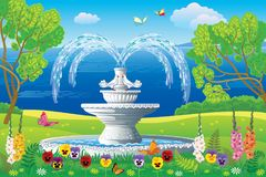 Free Beautiful Landscape With The White Fountain Stock Photos - 105222893