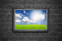 Beautiful landscape in a wooden frame Royalty Free Stock Images