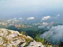 Yalta City view from the heights of Mount Ai-Petri. Beautiful landscape - Yalta City view from the heights of Mount Ai-Petri in Crimea, Ukraine stock photography