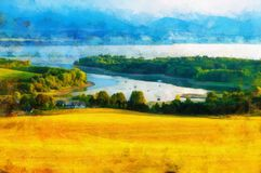 Beautiful landscape, yellow meadow and computer painting effect. Beautiful landscape, yellow meadow and computer painting effect royalty free stock image
