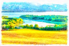 Beautiful landscape, yellow meadow and computer painting effect. Beautiful landscape, yellow meadow and computer painting effect stock photos