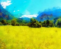 Beautiful landscape, yellow meadow and computer painting effect. Beautiful landscape, yellow meadow and computer painting effect stock photo