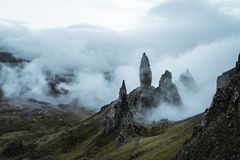 The amazing landscape around the Old Man of Storr. This beautiful landscape you can see when you walk to the Old Man of Storr at the Isle of Skye. Sometimes it stock image