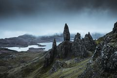 The amazing landscape around the Old Man of Storr. This beautiful landscape you can see when you walk to the Old Man of Storr at the Isle of Skye. Sometimes it stock photo
